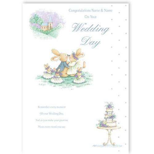 Bunny Rabbits On Your Wedding Day Wedding Card
