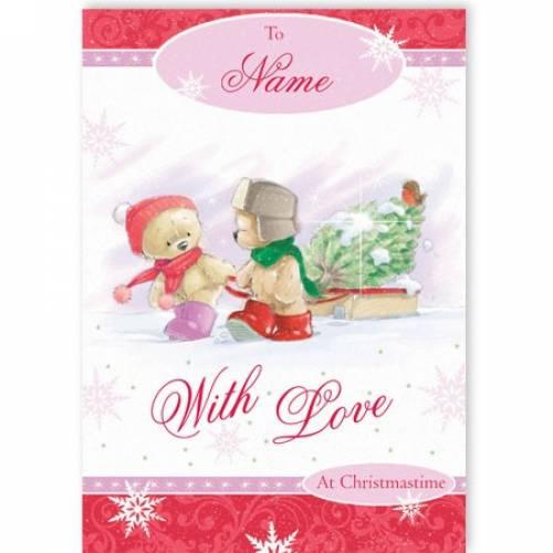 Teddy Bear Couple With Love Christmas Card