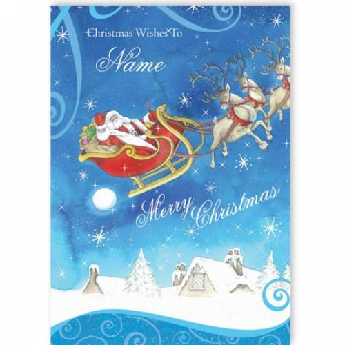Santa Sleigh Christmas Wishes Christmas Card