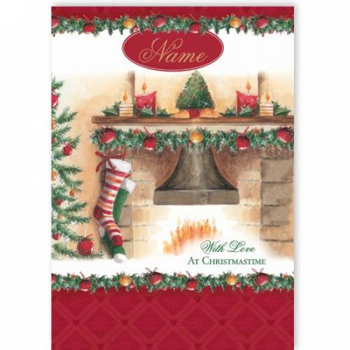 Fireplace Stockings At Christmas Card