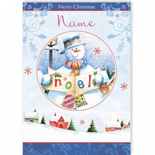 Noel Snowman Merry Christmas Card