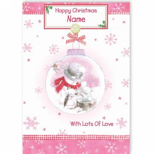 Snowman In Bauble Pink Christmas Card