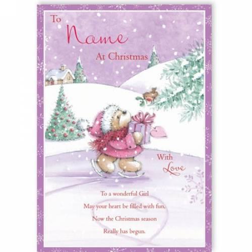 Skater Wonderful Girl Christmas Card