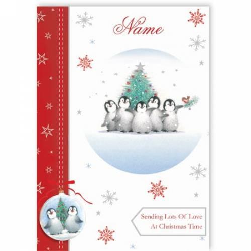 Penguin Family Sending Lots Of Love At Christmas Card