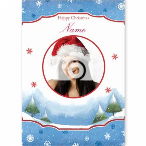 Happy Christmas Circular Photo Christmas Card