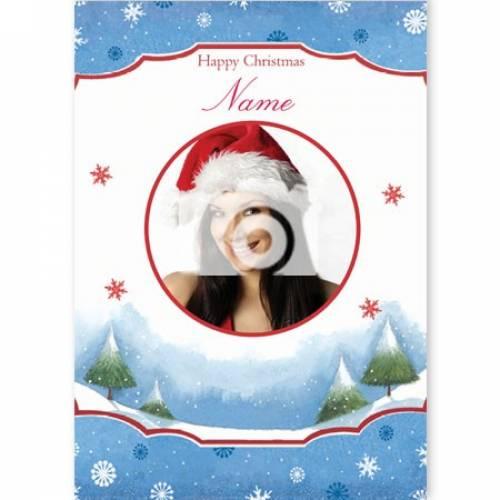 Happy Christmas Circular Photo Christmas Card