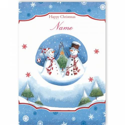 Two Snowmen Blue Christmas Card