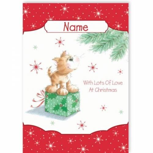 Dog On Giftbox Christmas Card