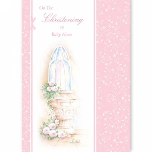 Pink Girl - On The Christening Card