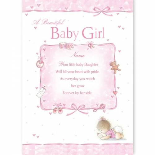 Your Baby Daughter Will Fill Your Heart Baby Card