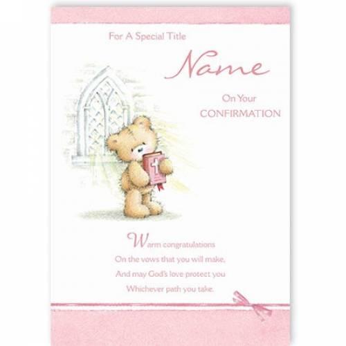 Pink Teddy Confirmation Card
