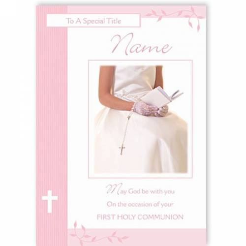 Pink May God Be With You First Holy Communion Card