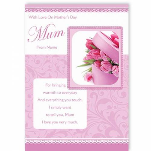 Pink Flowers With Love On Mother's Day Card