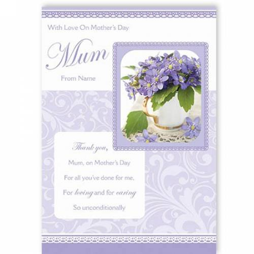 Purple Flowers With Love On Mother's Day Card