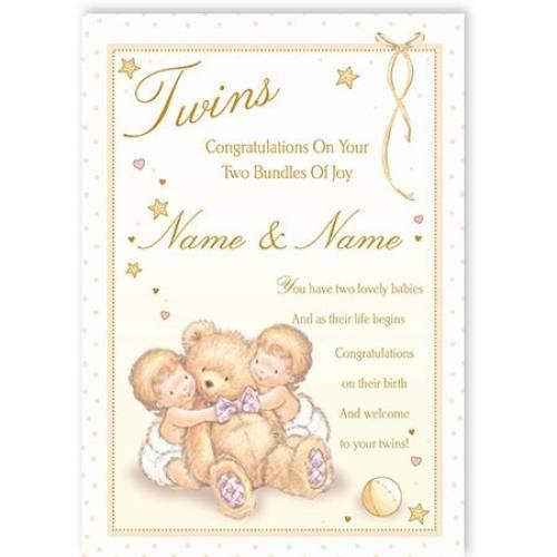 Two Bundles Of Joy Twin Babies Baby Card
