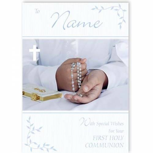 Boy With Rosary Beads First Holy Communion Card