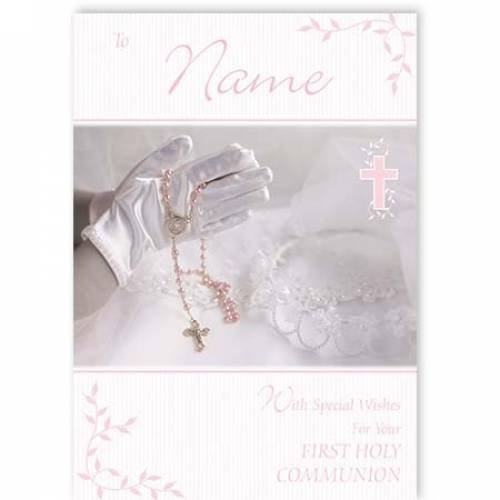 Girl With Rosary Beads First Holy Communion Card