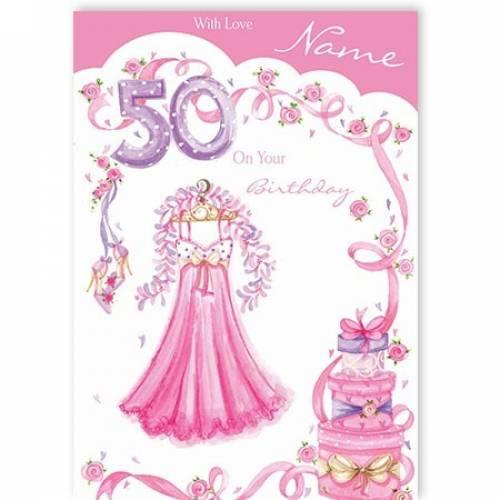 Dress Happy 50th Birthday Card