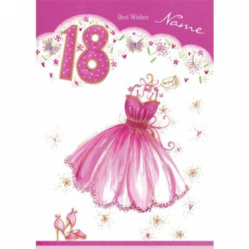 Pink Dress Happy 18th Birthday Card