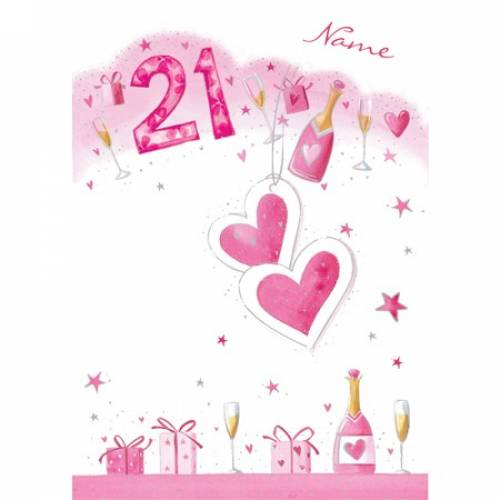 Pink Champagne Happy 18th Birthday Card