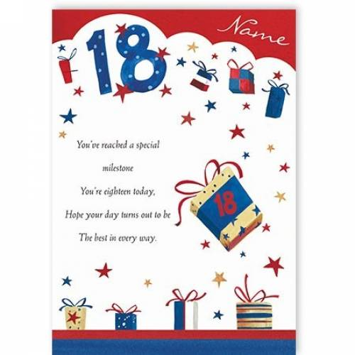 Milestone 18th Birthday Card
