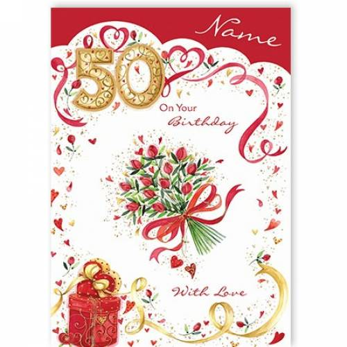 Bunch Of Roses Happy 50th Birthday Card