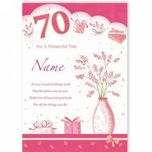 Wonderful Happy 70th Birthday Card