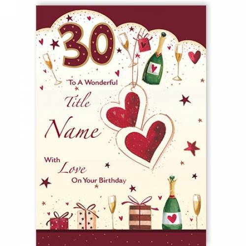 Hearts & Champagne Happy 30th Birthday Card