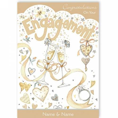 Toasting Glasses Congratulations Engagement Card