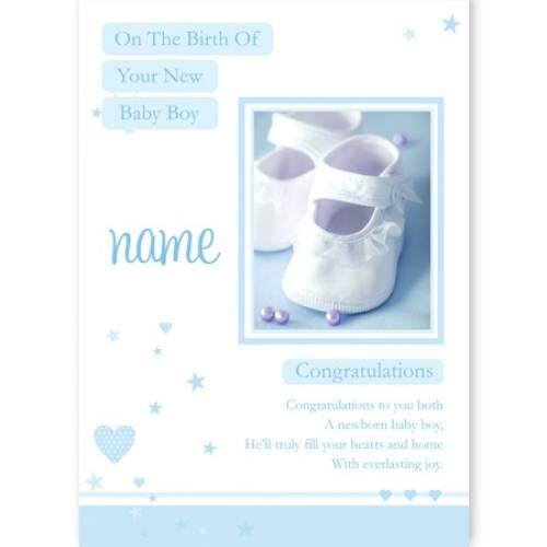 Blue Birth On Your New Baby Boy Baby Card