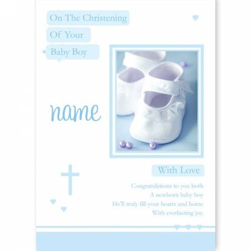 Baby Boy Shoes Christening Card