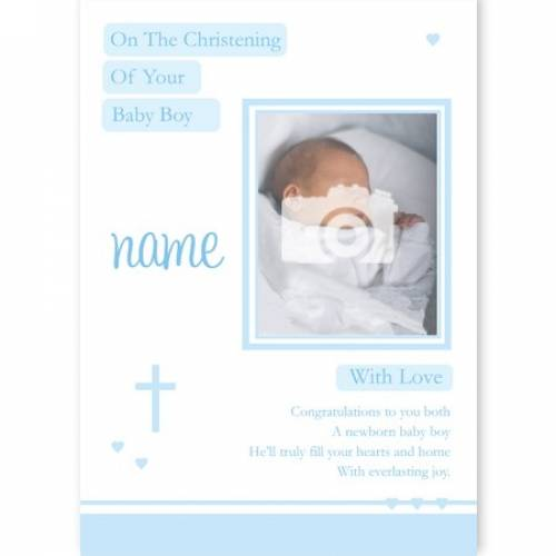 Baby Boy Photo On Your Christening Card
