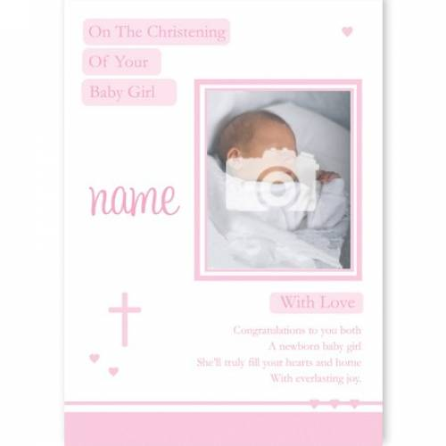 Baby Girl Photo On Your Christening Card
