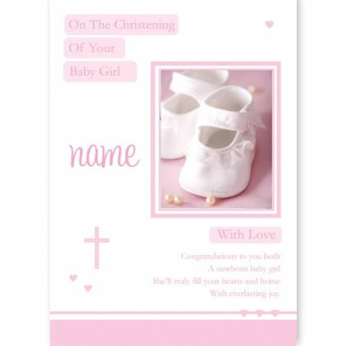 Pink Birth On Your Christening Baby Girl Baby Card
