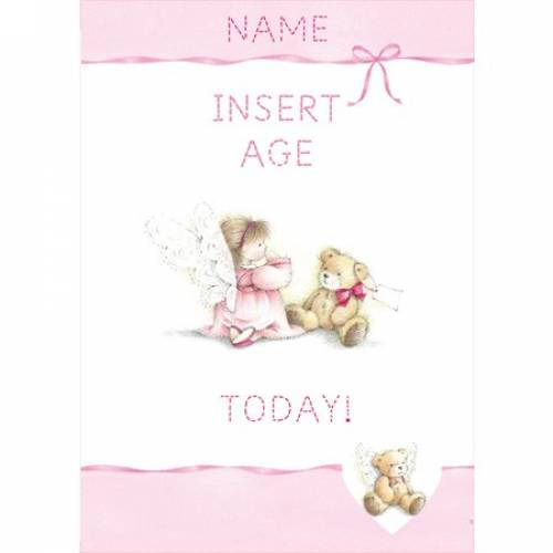 Pink Angel With Teddy Insert Age Girl's Birthday Card