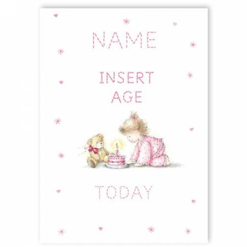 Pink Young Girl With Teddy Insert Age Girl's Birthday Card