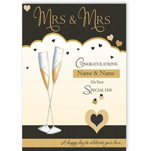 Mrs & Mrs Congratulations On Your Special Day Wedding Card