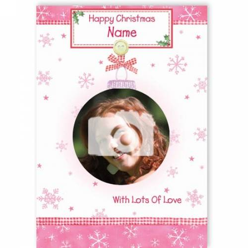 Pink Happy Christmas With Lots Of Love Christmas Card