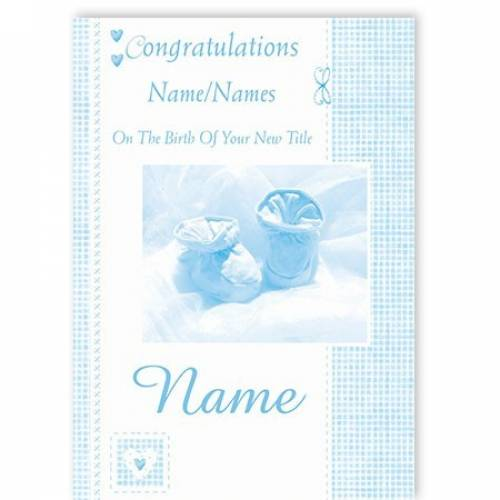 Congratulations On The Birth Baby Blue Boy Baby Card