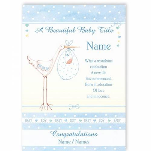 Congratulations Beautiful Baby Boy Stork Baby Card