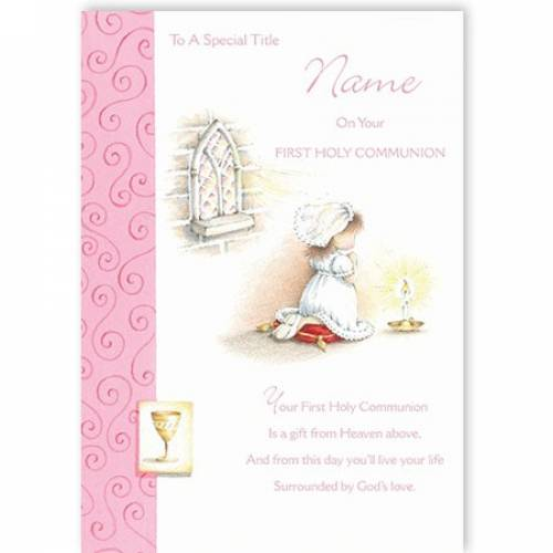 Pink Girl Praying First Holy Communion Card