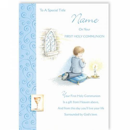 Blue Boy Praying First Holy Communion Card