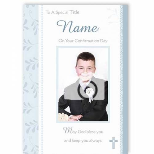 Boy's On Your Confirmation Day Photo Confirmation Card