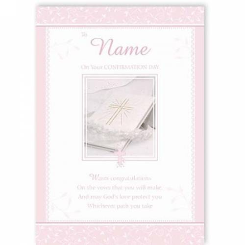 Pink On Your Confirmation Day Confirmation Card