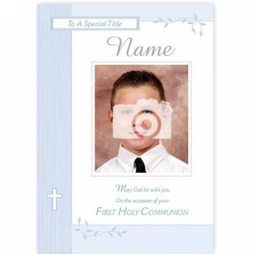 Boy's Photo Upload On Your First Holy Communion Card