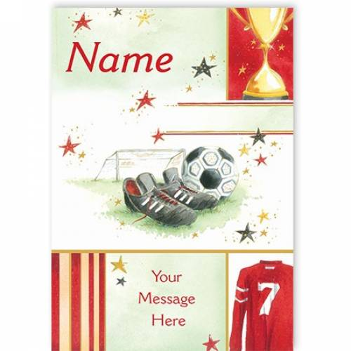 Football Boots & Ball Any Message Card
