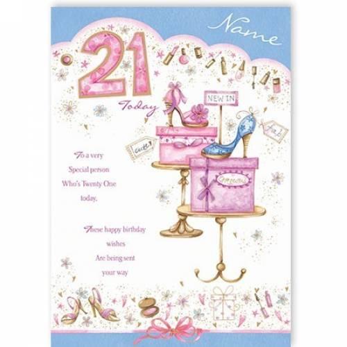 Twenty One Today Shoes Happy 21st Birthday Card