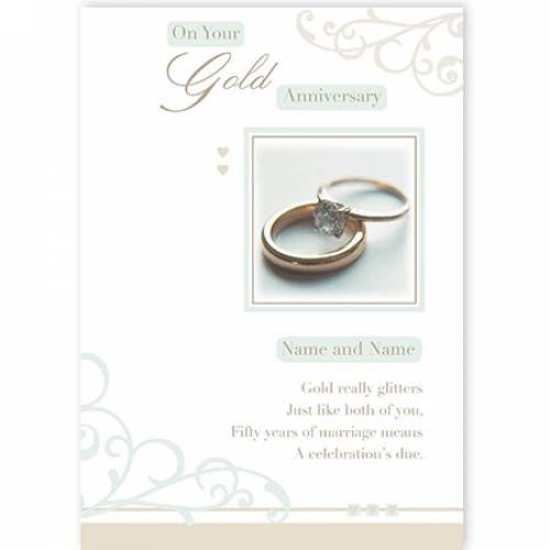 Rings Congratulations On Your Gold Anniversary Card