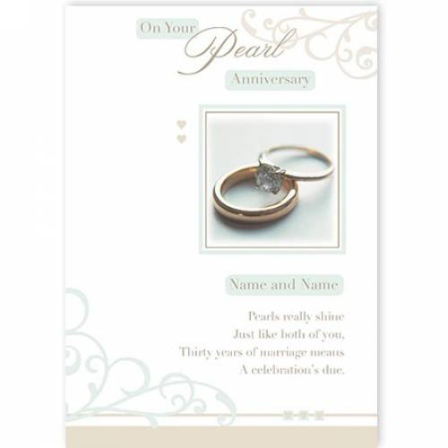 Rings Congratulations On Your Pearl Anniversary Card