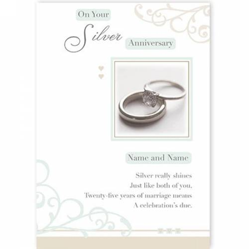 Rings Congratulations On Your Silver Anniversary Card